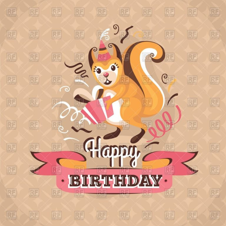 vintage birthday card with squirrel and presents stock vector image