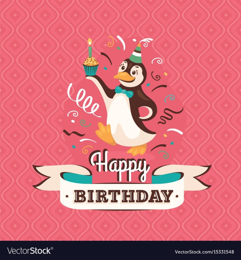 vintage birthday greeting card with a penguin