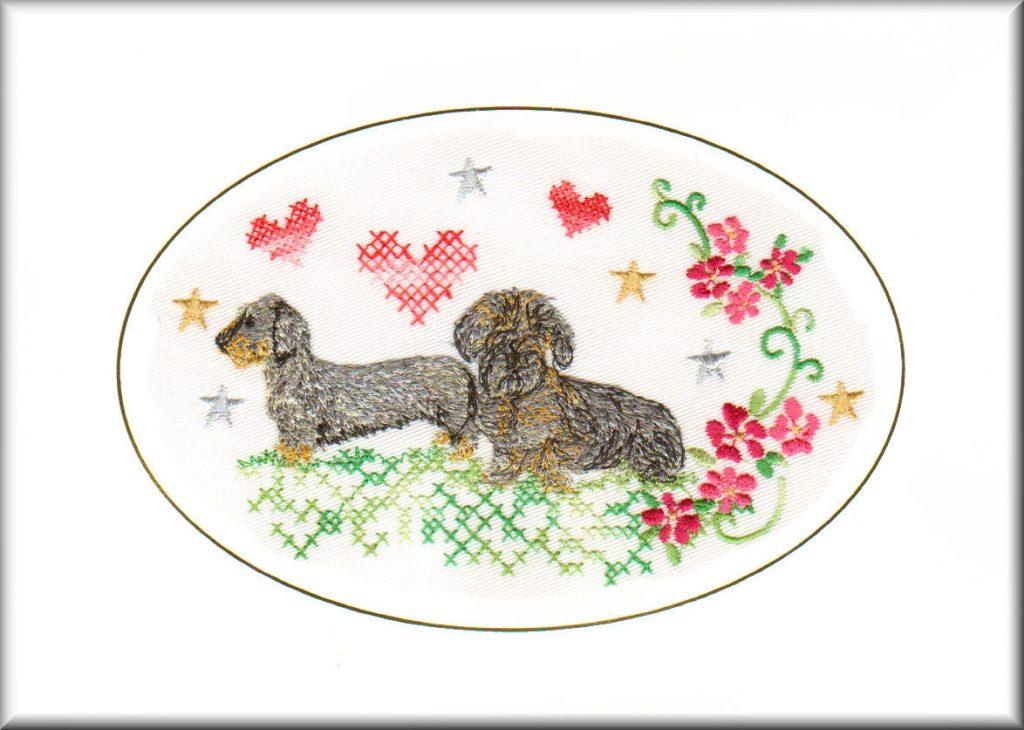 wire haired dachshund birthday card birthday card embroidered dogmania 8 x 6 g7036