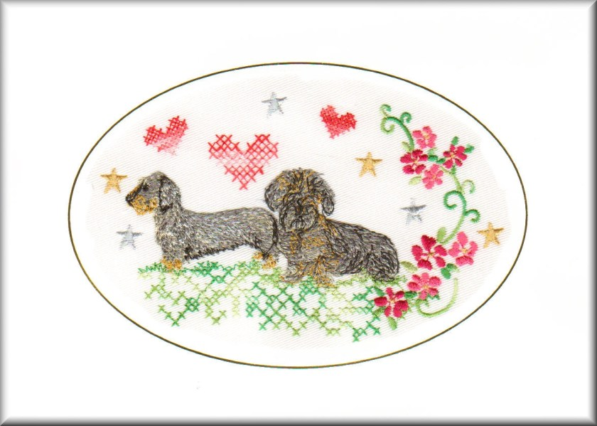wire haired dachshund birthday card birthday card embroidered dogmania 8 x 6 g7036
