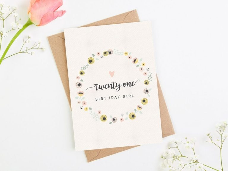 21st birthday card blush floral