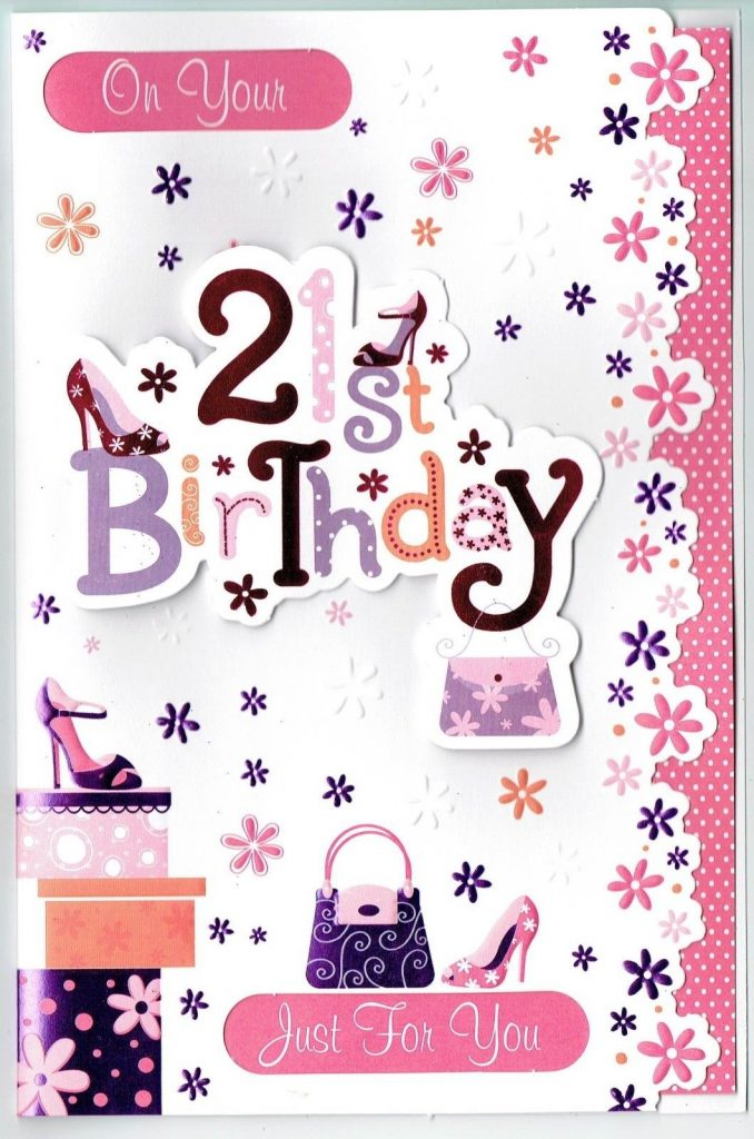 21st birthday card female 3d design with love gifts cards