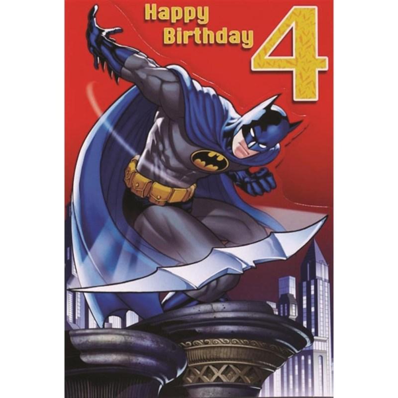 4th birthday batman birthday card