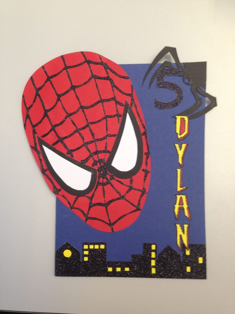a spider man card i made for a 5th birthday special