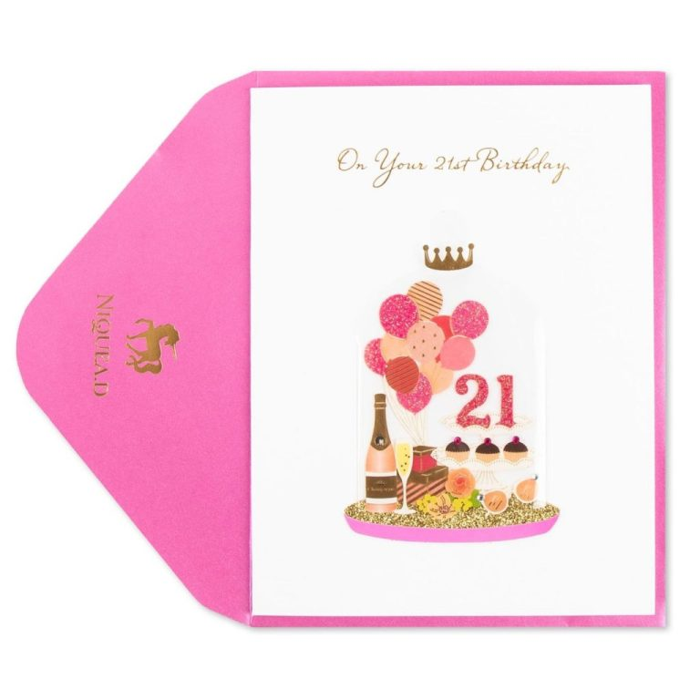 balloons bubbles 21st birthday card