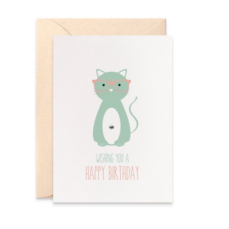 cat birthday card female happy birthday card for female cat wearing glasses cat lover card card for her birthday female card hbf165