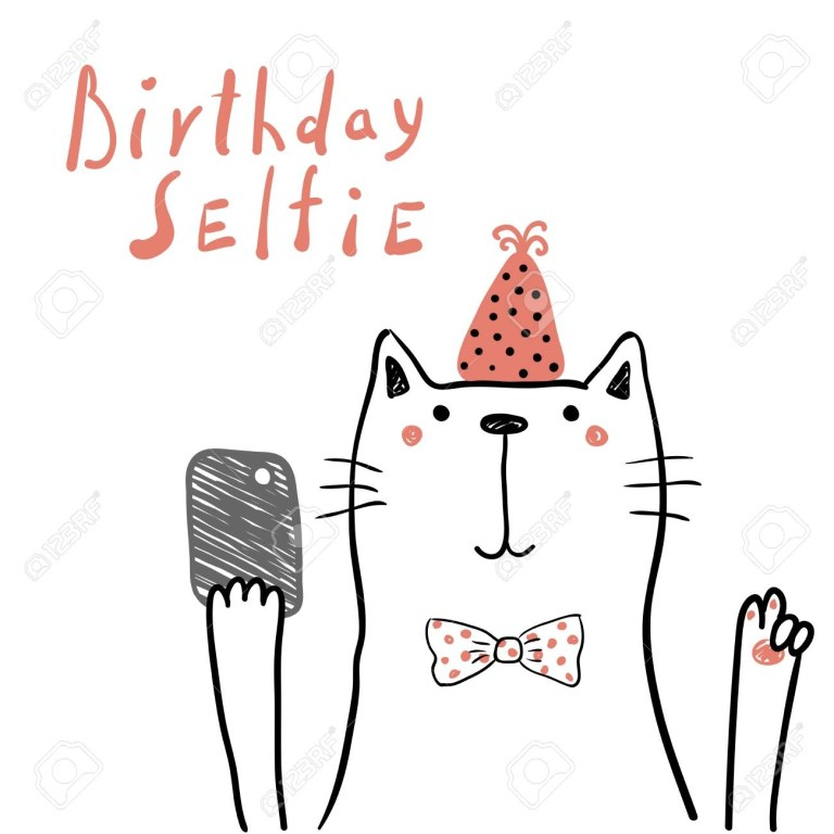 hand drawn birthday card with cute funny cat in a party hat