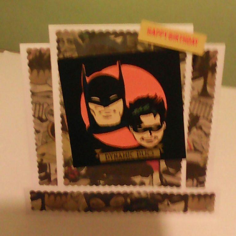 handmade batman birthday card with money pocket on
