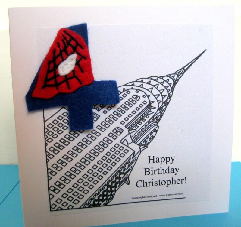 handmade spiderman birthday card boys 4th birthday card w
