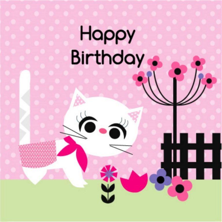 happy birthday card white cat