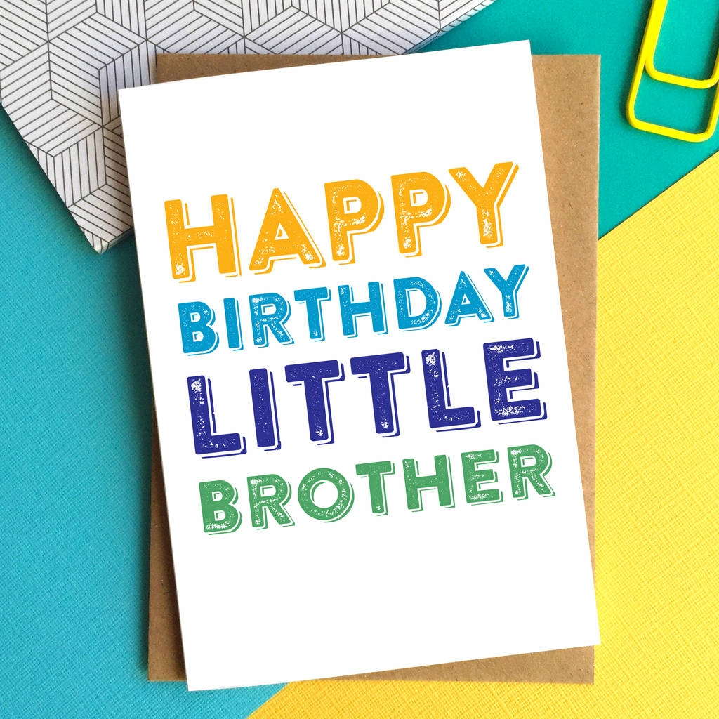 happy birthday little brother greetings card