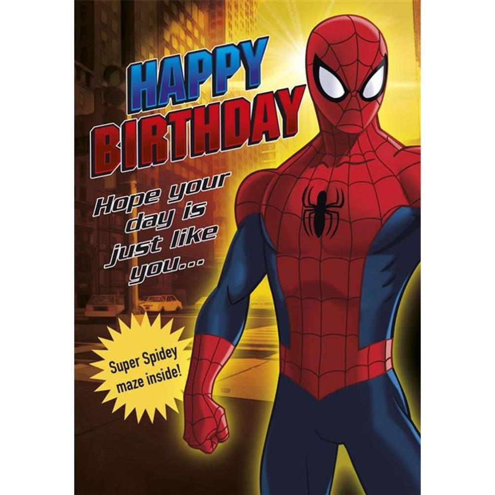 happy birthday marvel spiderman activity birthday card