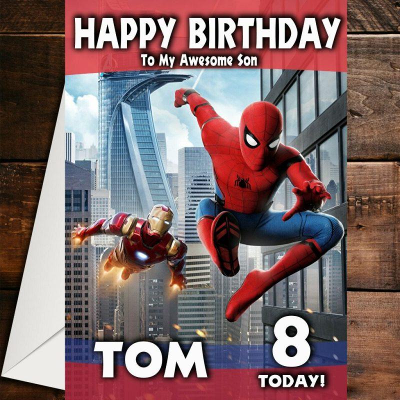 marvel heroes spiderman iron man personalised birthday card son nephew grandson