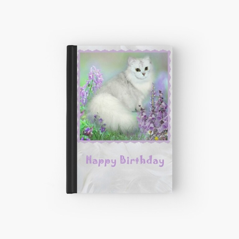 mistletoe the silver shaded chinchilla persian cat birthday card hardcover journal