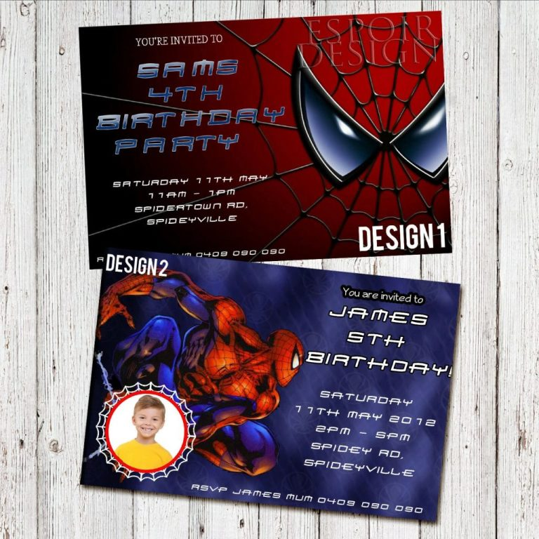 personalised spiderman birthday party photo invitation digital you print