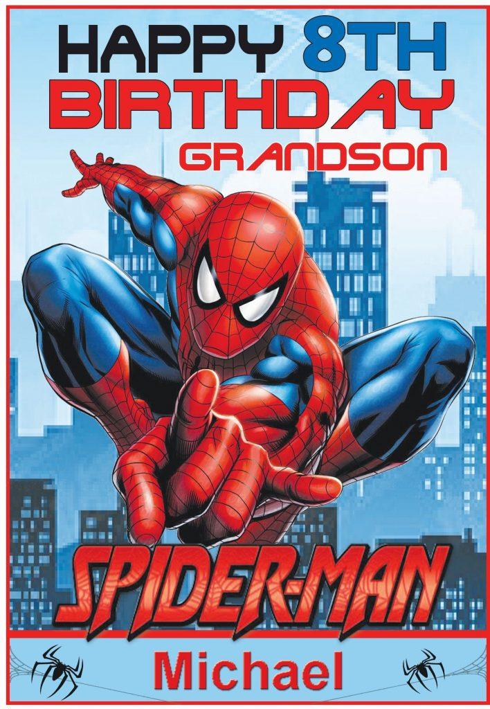 personalised spiderman inspired birthday card
