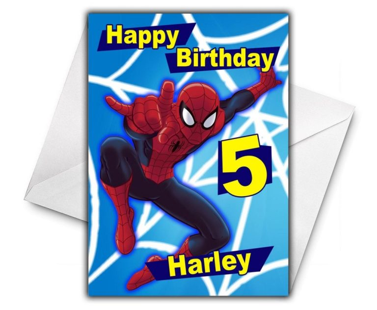 spiderman personalised birthday card large size a5 personalized birthday card spiderman greetings birthday cards super hero d2