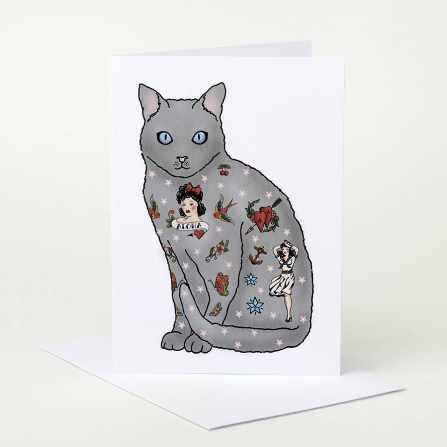 tattooed cat birthday card