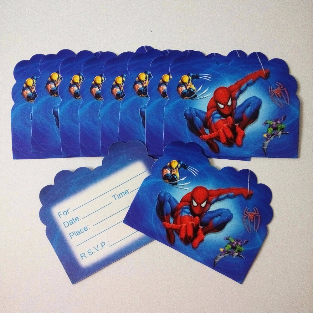 us 04 46 off10pcs spiderman invitation cards for boy kids birthday decoration spiderman party supplies decoration anniversaire spiderman in cards