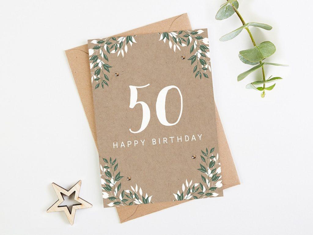 50th birthday card botanical kraft