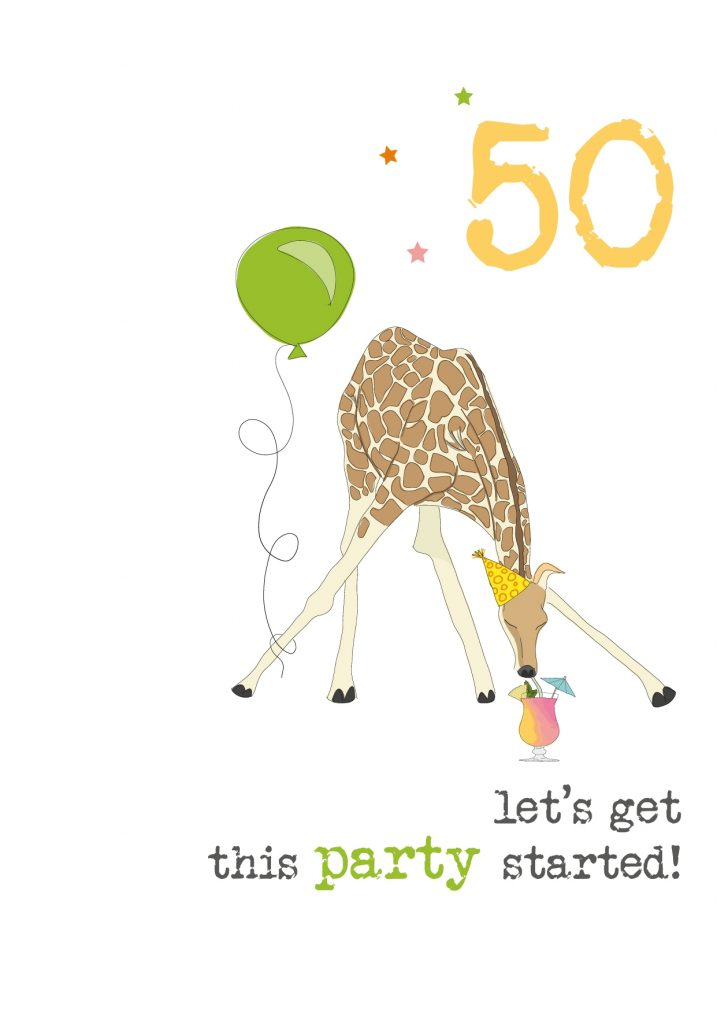 50th birthday sparkle finished greeting card