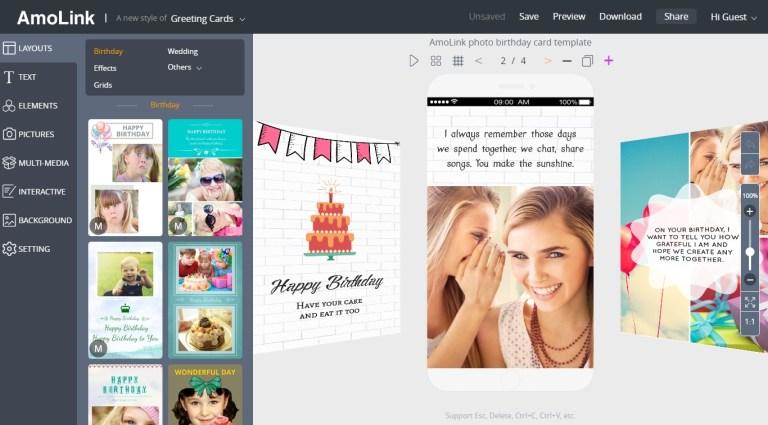 amolink birthday card maker