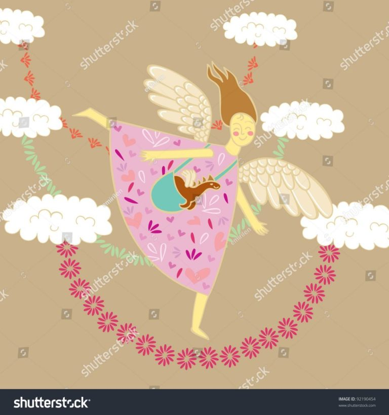 angel carries dragon name day birthday stock vector royalty