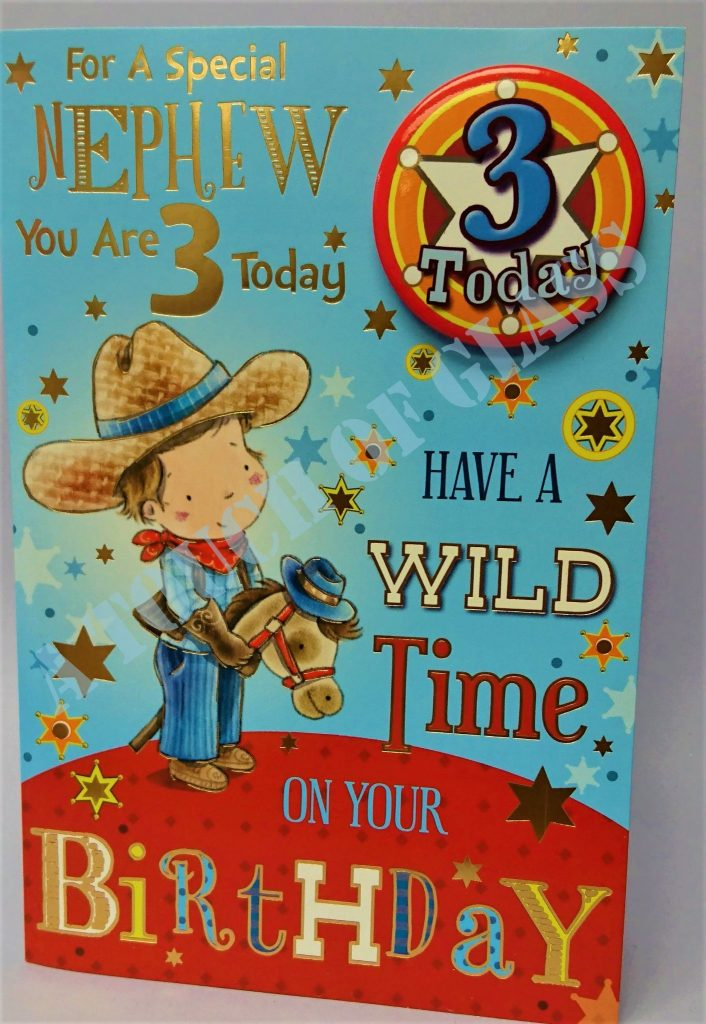 badge birthday card 3 year old nephew