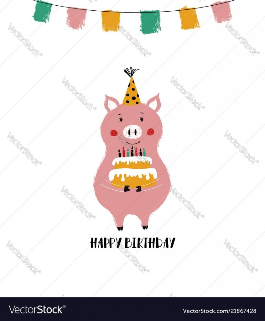 birthday card with funny pig