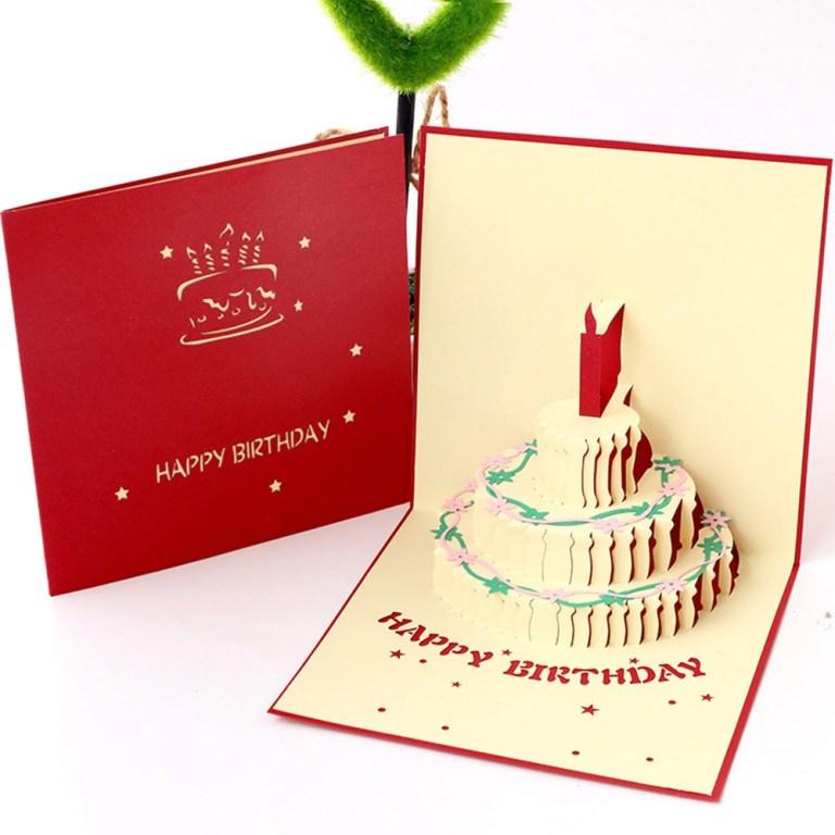 birthday congratulation card diy 3d cake shape card creative greeting gifts fashion handmade party invitation