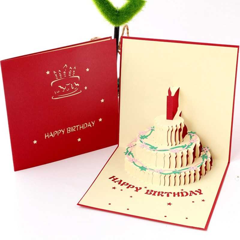 birthday congratulation card diy 3d cake shape card creative greeting gifts fashion handmade party invitation