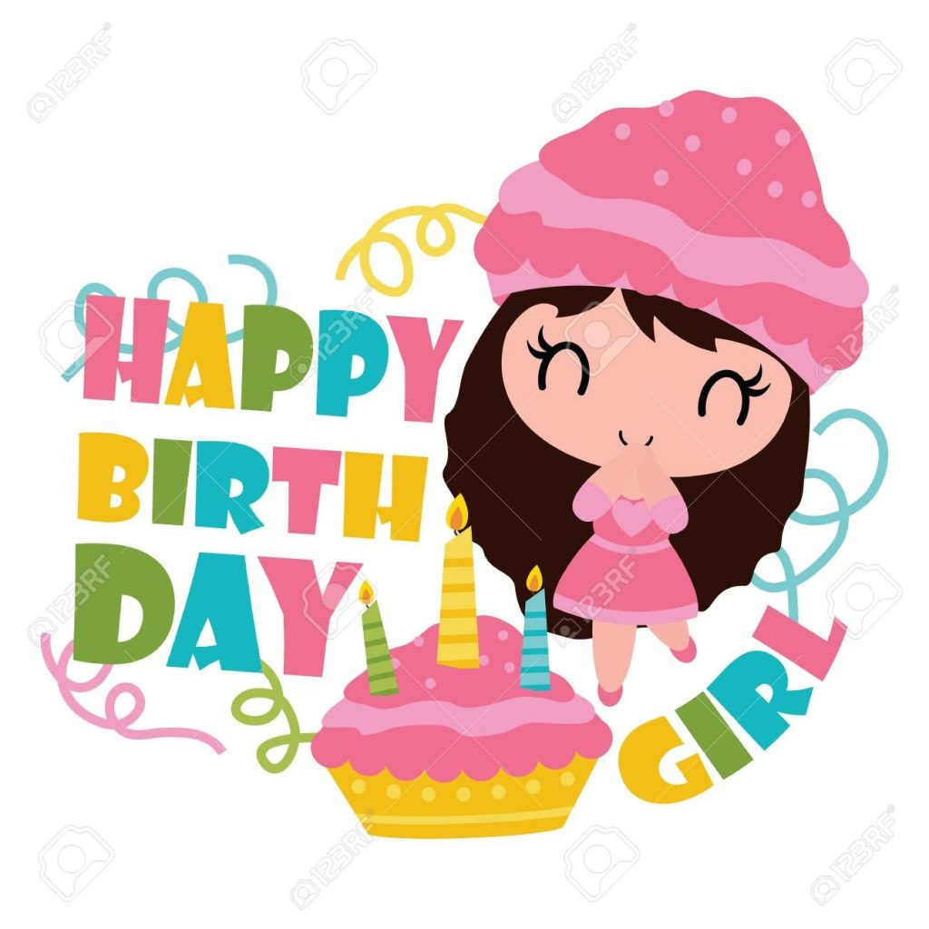 cute cupcake girl with her birthday cake vector cartoon illustration