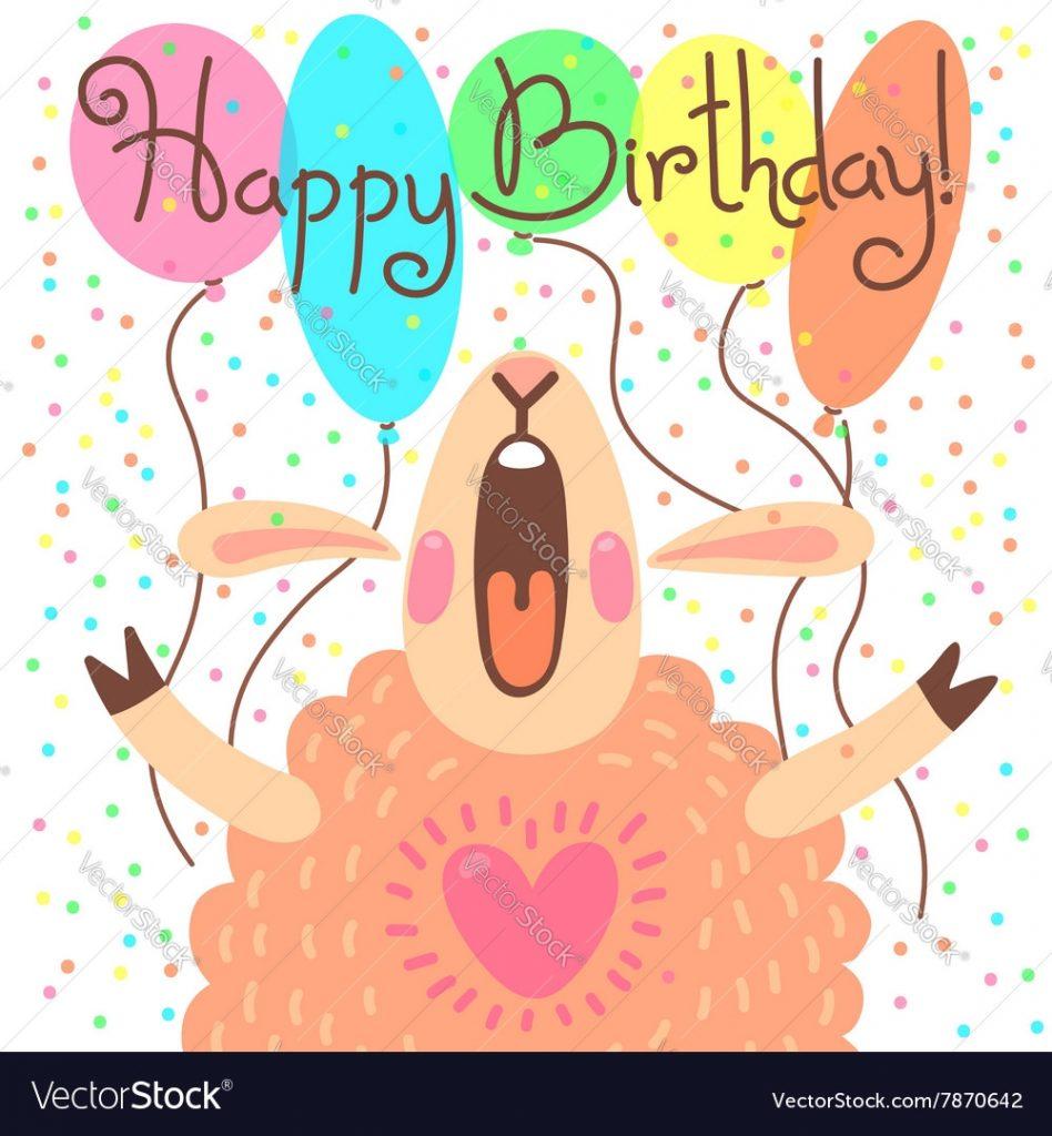 cute happy birthday card with funny lamb