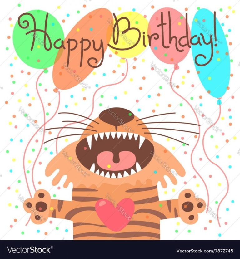 cute happy birthday card with funny tiger