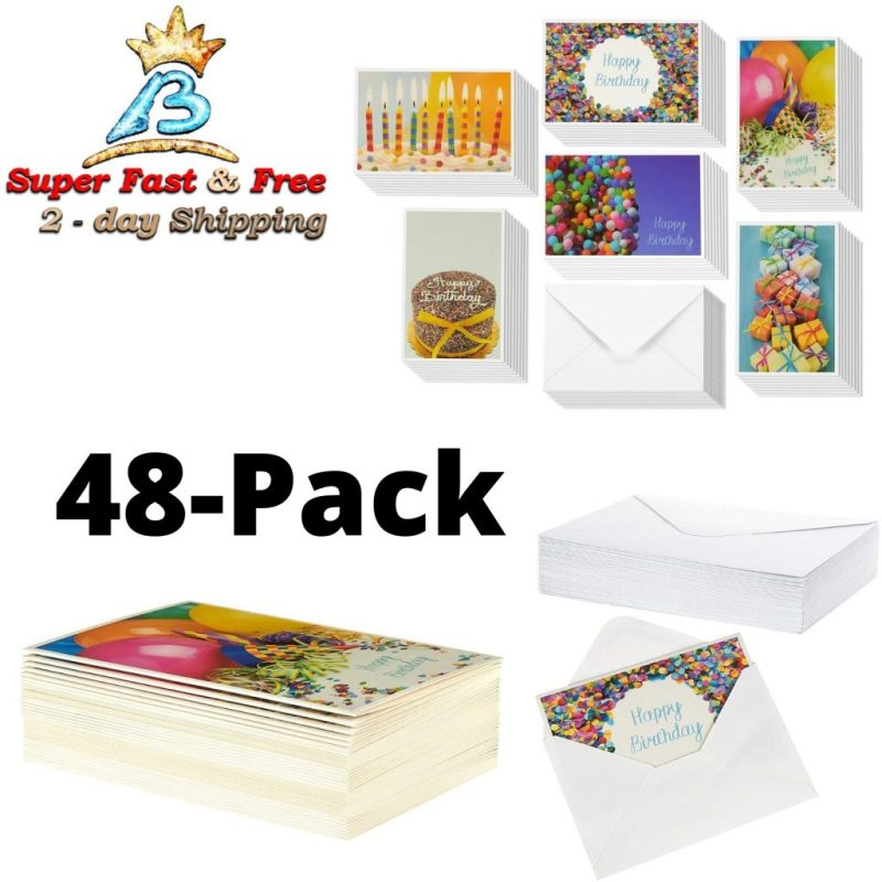 happy birthday cards box bulk set party greeting cards with envelopes 48 pack