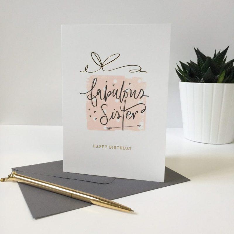 happy birthday fabulous sister card