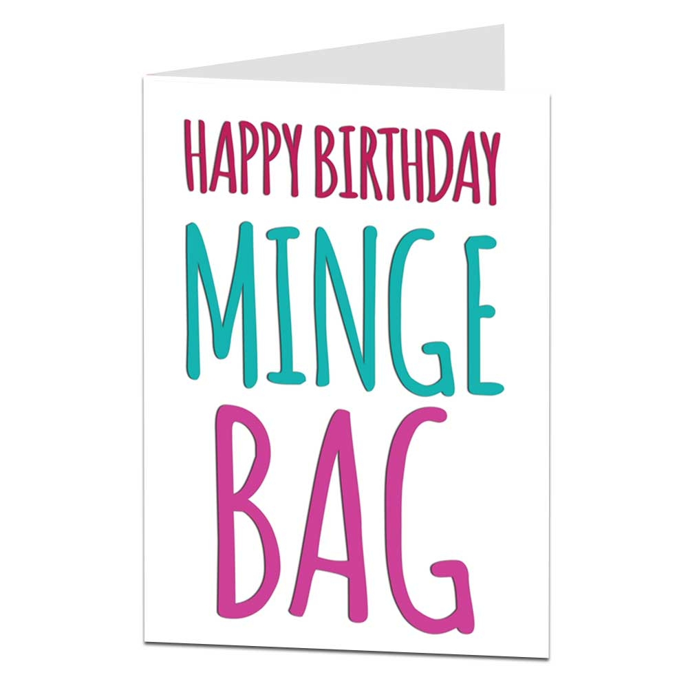 happy birthday minge bag card for her