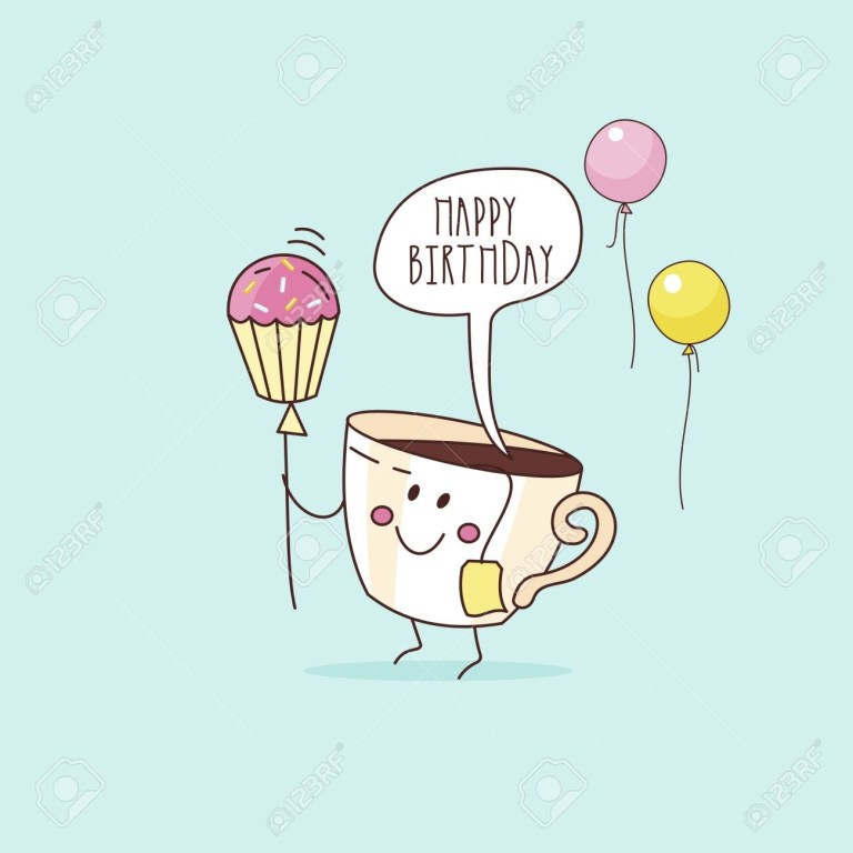 happy birthday nice funny greeting card a cup of coffee with