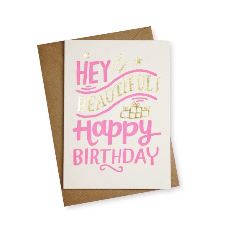 hey beautiful happy birthday card
