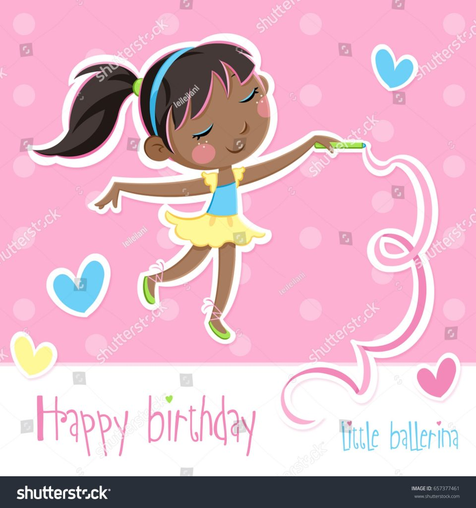 lovely little ballerina happy birthday card