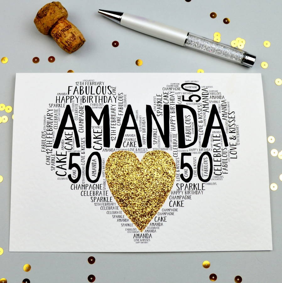 personalised 50th birthday sparkle card