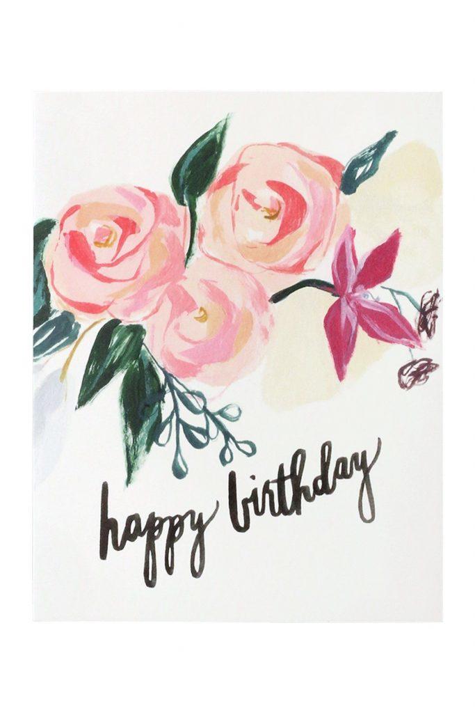 pink florals happy birthday card geschenke karten und