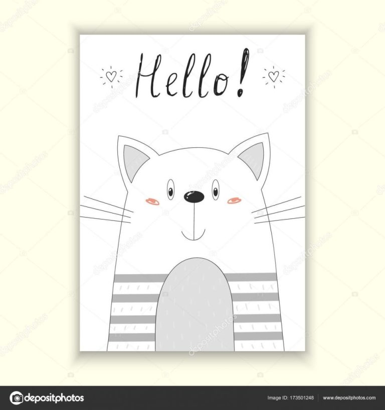 printable funny cat birthday cards hello card hand drawn