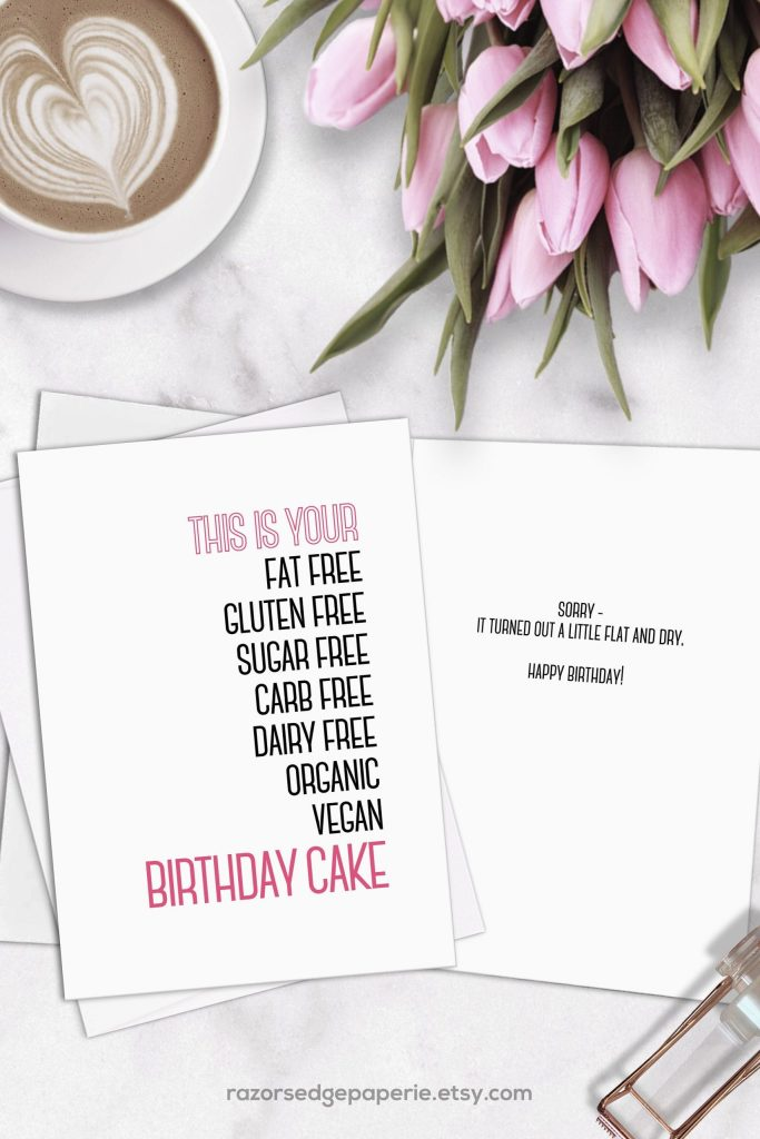 printable funny workout birthday card for her instant
