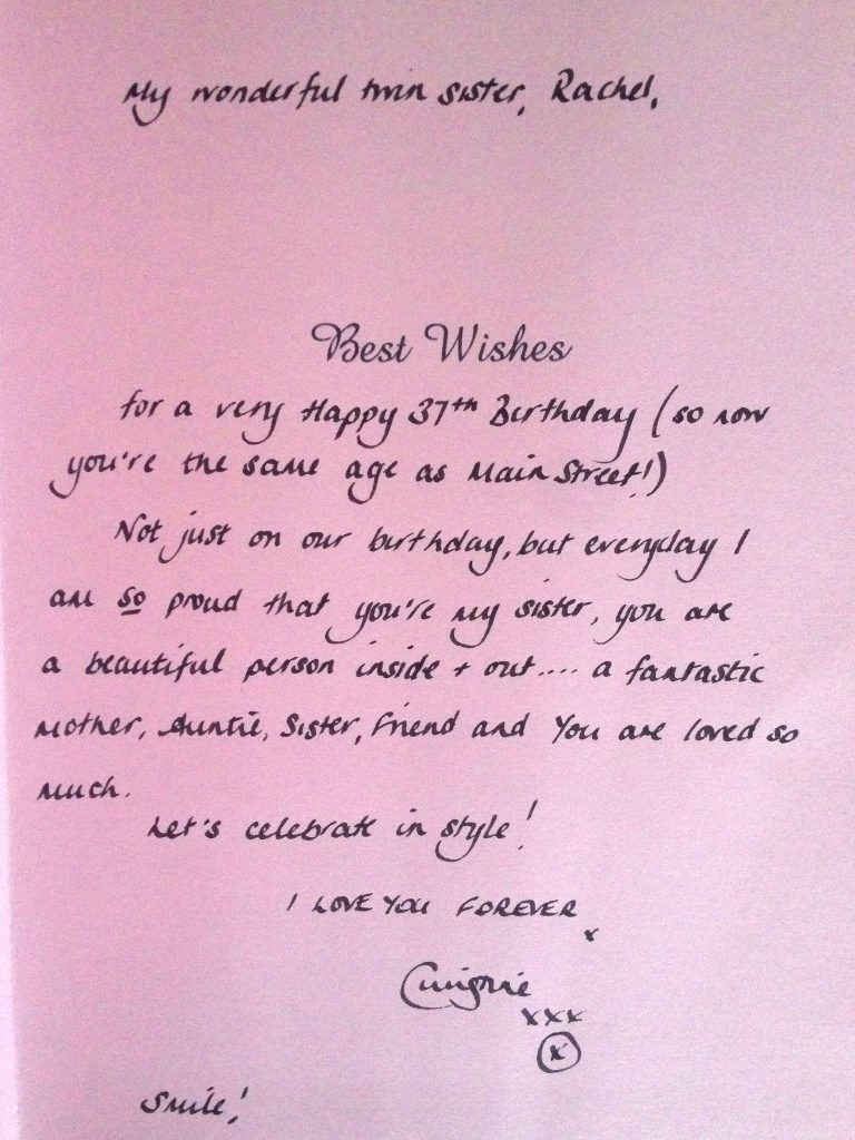 ps i love you identical twin sends her sister birthday