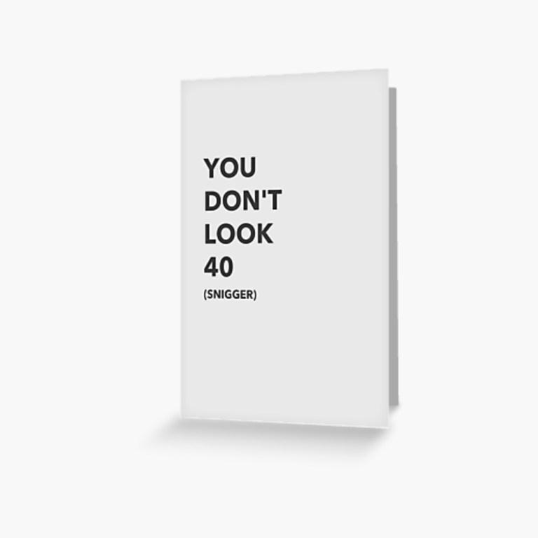rude 40th birthday card greeting card