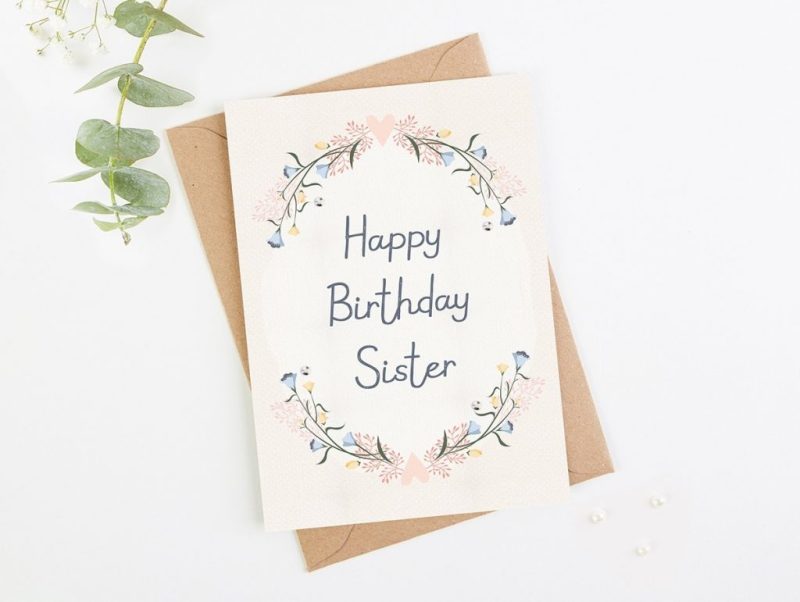 sister birthday card blush floral