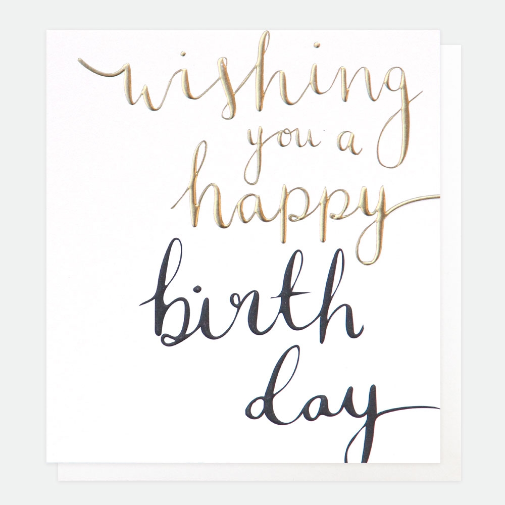 wishing you a very happy birthday calligraphy text card