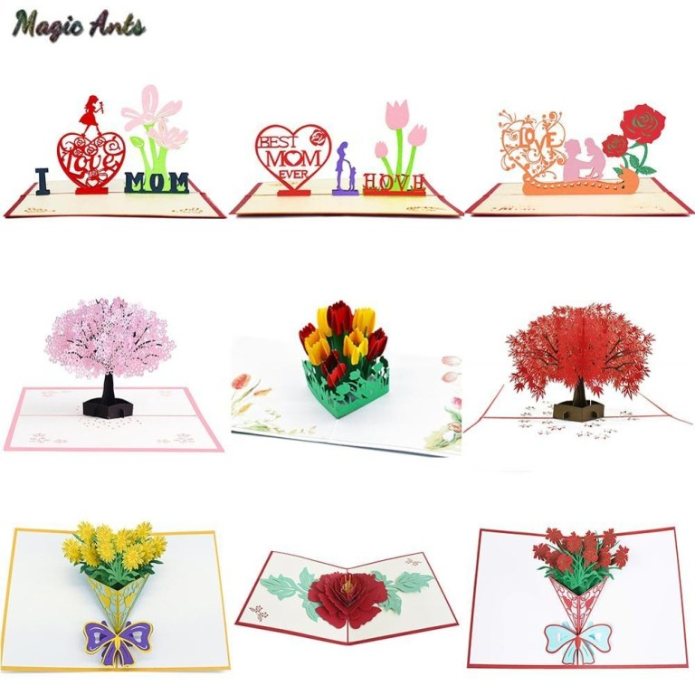 3d pop up cards mothers day gifts card i love mom carnation flowers bouquet greeting cards for mother birthday card animated birthday card animated