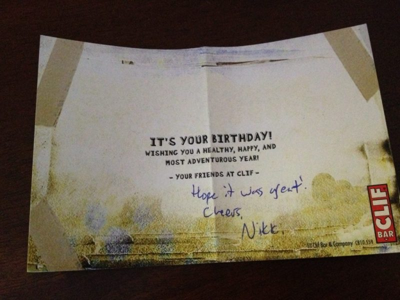 a birthday present from clif bar customer relationship